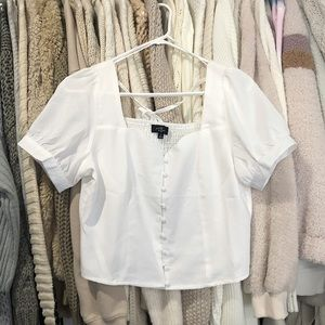 White Dainty Button up Top